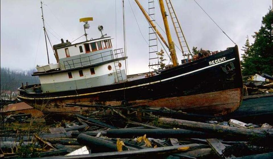 Alaska 1964 earthquake and tsunami damage